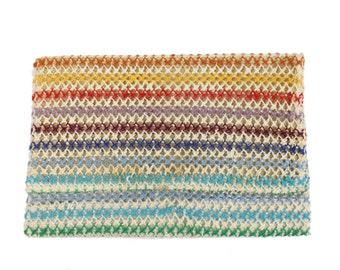 70s 80s Crochet Clutch Rainbow Stripes Envelope Bag Purse Womens Vintage Fashion Accessories Handbags 1970s 1980s