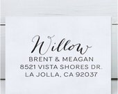 Custom Address Stamp - Calligraphy Stamp - Eco Mount - wedding stamp - housewarming gift - Willow
