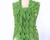 Green Shawl  Crochet shawl Green shawl Cotton shawl Hand crocheted shawl, Green cotton Shawl