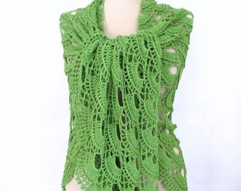 Green Shawl  Crochet shawl Green shawl Cotton shawl Hand crocheted shawl, Green cotton Shawl
