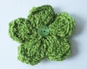 Lime Green Double Flower Brooch