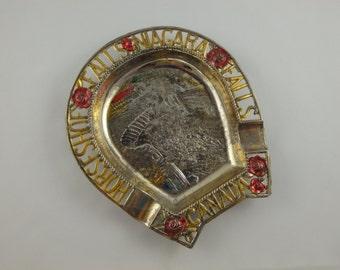 Souvenir Ashtray Horseshoe Falls and Niagara Falls Canada, Vintage, Metal