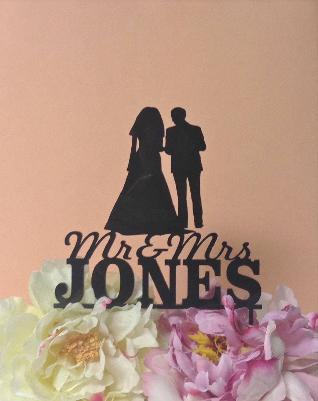 Custom Name Silhouette Wedding Cake Topper by