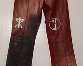 Hand Painted Real Leather Trad Goth Trousers ~ Bauhaus ~ Christian Death ~ Siouxsie & the Banshees ~ The Cure