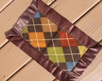 Lovey - Mini Blanket -  Brown, Orange, Blue, and Green  Argyle