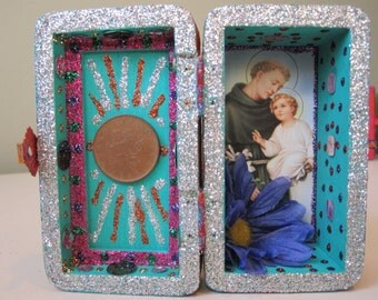 St. Anthony mini nicho, Voodoo altar, Santeria shrine, spirit house, folk art