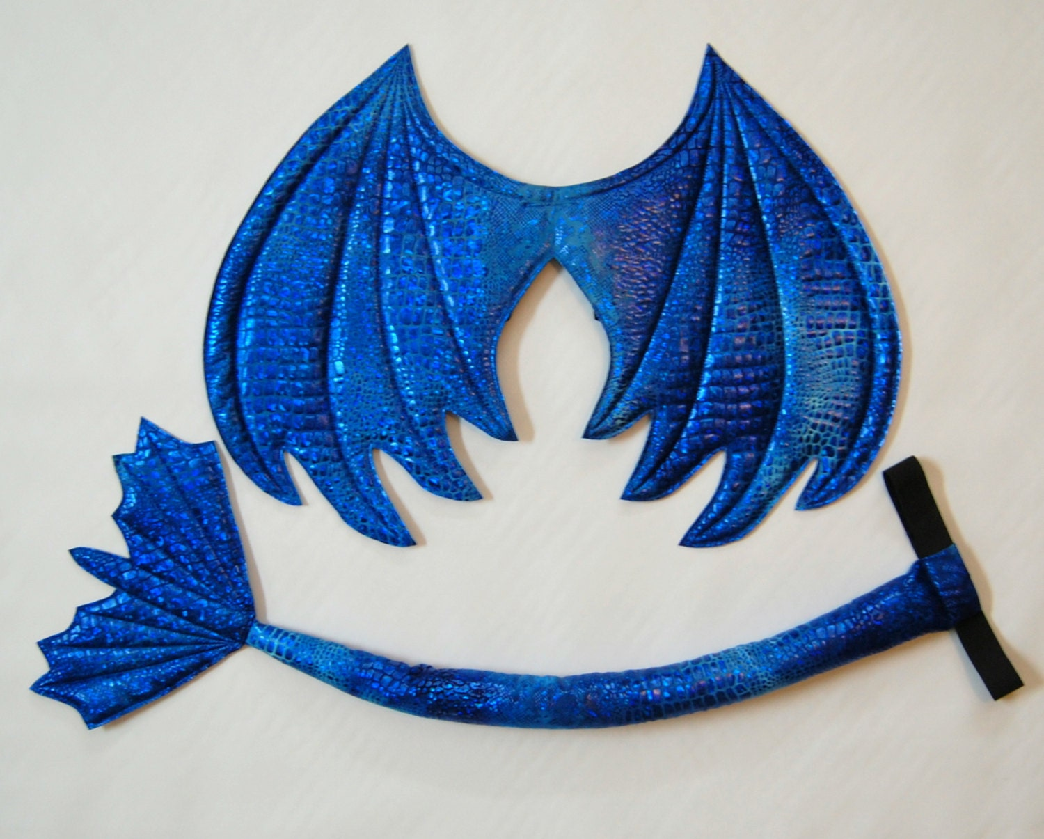 Blue Dragon Wings and Tail SET Royal Blue Metallic wire - photo#28