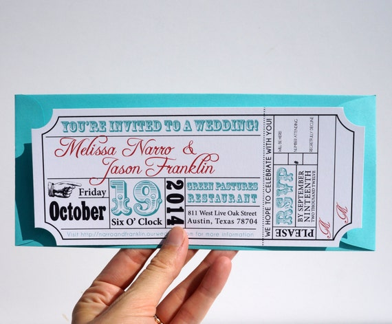 Invitation Ticket Movie Ticket Wedding Invitation