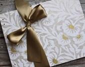 Wedding Guest Book, White Floral Block Print, MEDIUM 9x7, READY to SHIP