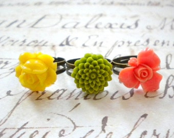 Colorful Ring Set  Adjustable Flower Rings Flower Cabochon Ring Colorful Flower Rings Summer Tropical Jewelry Resin Flower Ring