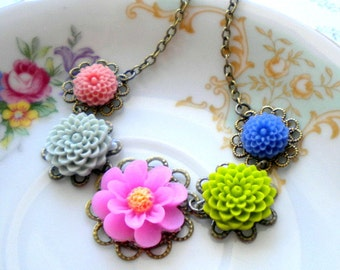 Flower Girl Necklace Children Jewelry Flower Girl Gift Colorful Flower Garden Floral Jewelry Little Girl Necklace Gift For Girls