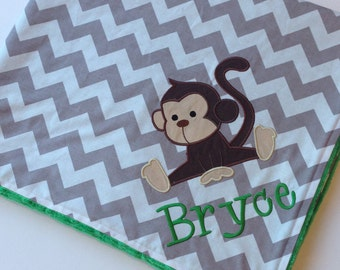 Personalized Baby Blanket 30x35- Minky Baby Blanket- Chevron Minky Blanket- Applique Baby Blanket- Monkey Blanket- Design Your Own Blanket