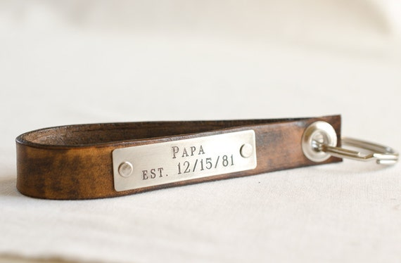 Papa Keychain Personalized Leather Key Chain, Anniversary Gift, Custom Keychain, Wedding Gift, Skinny Leather Key Chain