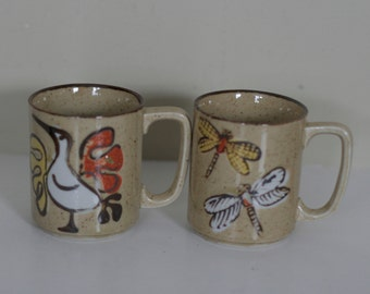 vintage mid century coffee cups with bird and dragonfly's set of two