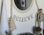 BELIEVE Christmas Gothic Glitter Letter Banner Garland