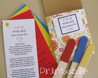 Printable- PDF- LDS Primary Wooden Stick Game- Get-to-Know-You Activity Idea
