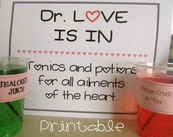 Printable- PDF- Love Potions for Kids- Easy and Fun Valentine Activity Kit Party Game, great for classrooms and parties