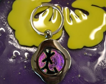 Key Chain, Dichroic Glass, Fused Glass, Lavender