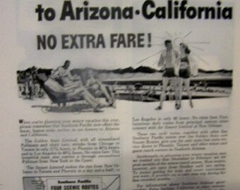 1946 Southern and Pacific Railroad advertisement 7 1/2 x 10 as found