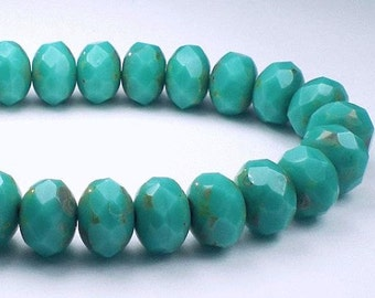 Turquoise Picasso Czech Glass Beads 6 x 8mm Blue Green Faceted Rondelle Beads 10 Pcs. RON8-010