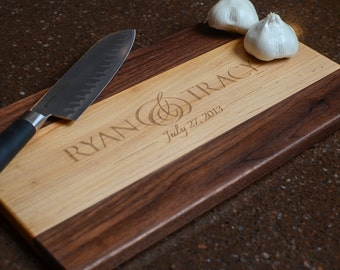 Cutting Board Personalized Cutting Board Laser Engraved Maple and Walnut 8x14 Wood Chopping Block CB814 2 Tone