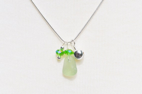 Singing Sea Glass Charm Necklace in Light Green Sterling Silver Bell and Crystal 5853