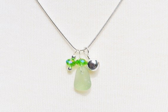 Singing Sea Glass Charm Necklace in Light Green Sterling Silver Bell and Crystal 5853C