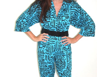 1980s Haring Style abstract jumpsuit