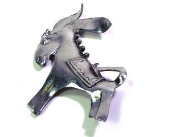 Artisan 1950s Mexico Souvenir Silver Donkey Burro PIN Brooch