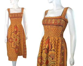 Vintage 70s Peasant Dress / Ethnic Bohemian Print Sundress size M L