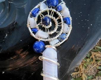 Sacred Spiral /Awakening//Blue Lace Agate, Lapis Lazuli, and Sterling Silver Wire Wrap Pendent, One of a Kind, Handmade, art