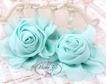 "New: Gladys Collections - AQUA MINT 3.75"" Chiffon Silk Rolled Rosette Rose Fabric Flowers. Wedding Supplies. Hair Applique. Headband Flowers"