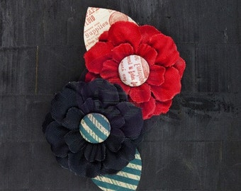 """SALE CLEARANCE 30% off  Prima """"Stationer's Desk"""" 575366 Red and Black Canvas Fabric Flowers with Leaves Flower Appliques. HAir accessories"""