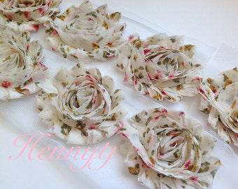 ONE yard Vintage flower Garden Shabby Rose Trim - Shabby Chiffon Rosettes - Floral Printed Shabby Chiffon Trim
