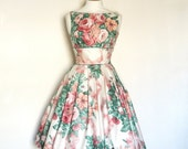 Peach and Raspberry Floral Ribbon Bouquet Glazed Cotton Prom Dress - Made by Dig For Victory - digforvictory