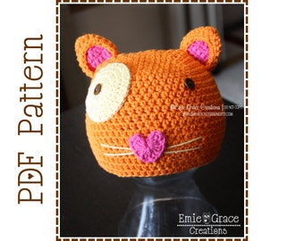 Cat Hat Crochet Pattern, 8 Sizes from Newborn to Adult,  MITZY EURO KITTY - pdf 128