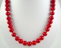 Bright Red Necklace Red Czech Glass Necklace Bright Red Necklace Beaded Red Gun Metal Necklace Bright Red Strand