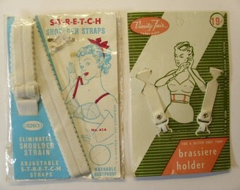 Vintage 1950's Brassiere Accessories  Two Packages  NOS