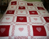 All Hearts Embroidered Throw and Wall Hanging