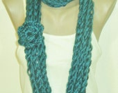 Infinity Teal Scarf for Womens Scarf with crochet flower gift under 10 dollar