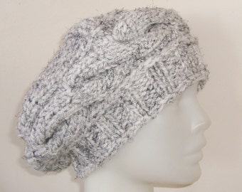 White & Black Hats Womens Hats Trendy White Slouch Cable Knit Hat - Womens Gift - Mothers Day Gifts for Mom - Slouch Hat
