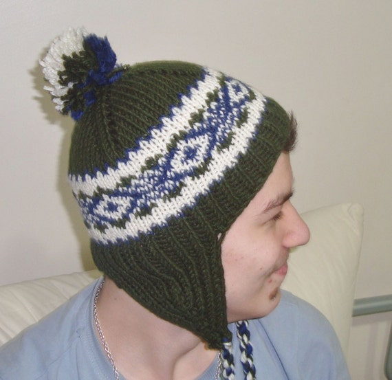 Hand Knitted Hat Boys & Girls Hat the Ear flap Hat in Deep Green, Cream, Blue, Winter Boys and Girls Accessories