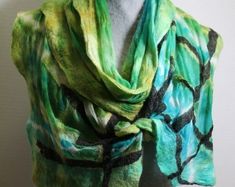 Nuno Felted Scarf Green Scarf Scarves Gifts for Her CHRISTMAS GIFT