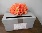 Gray Wedding Card Box with orange coral hydrangeas and personalized tag- You Customize colors and Flowers