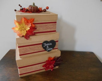 Rustic Autumn Wedding Card Box 3 tiered with burlap and leaves, berries with personalized tag You Customize Colors and Flowers