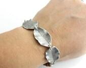 Sterling Silver Leaf Bracelet Wood and Leaf Bracelet Handmade Earthy Jewelry Woodland Inspired Jewelry