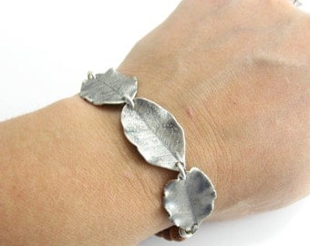 Sterling Silver Leaf Bracelet Wood and Leaf Bracelet Handmade Earthy Jewelry Woodland Inspired Jewelry