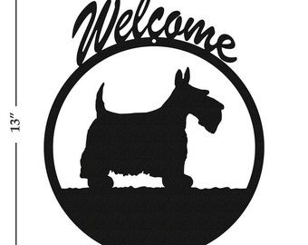 Dog Scottish Terrier Black Metal Welcome Sign