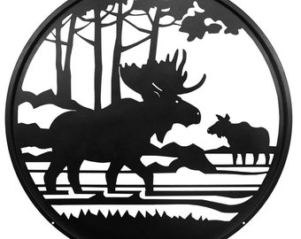 Hand Made Moose Scenic Art Wall Design