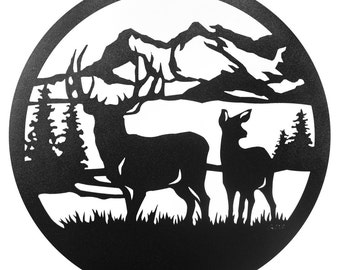 Hand Made Deer Buck Wildlife Scenic Art Wall Designn *NEW*